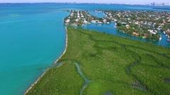 Aerial 4K Luxury Waterfront Homes in Key Biscayne, Florida - stock footage