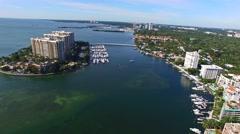 Stock Video Footage of Aerial 4K Grove Isle Island Condos in Coconut Grove, Florida