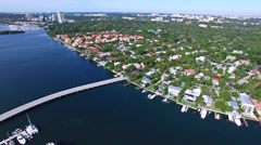 Aerial 4K Luxury Waterfront Homes in Coconut Grove, Florida - stock footage