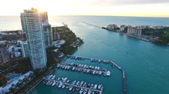 Aerial 4K Fisher Island Government Cut in Miami Beach, Florida - stock footage