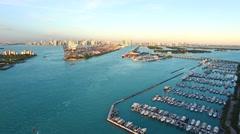Aerial 4K Miami Beach Marina in Miami Beach, Florida - stock footage