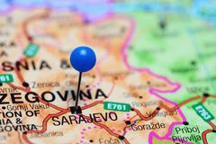 Stock Photo of Sarajevo pinned on a map of Bosnia and Herzegovina