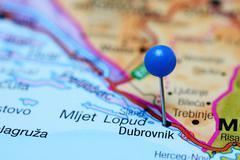 Dubrovnik pinned on a map of Bosnia and Herzegovina - stock photo