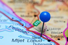 Stock Photo of Slano pinned on a map of Bosnia and Herzegovina