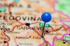 Stock Photo of Foca pinned on a map of Bosnia and Herzegovina
