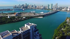 Aerial 4K Luxury Island Waterfront Homes in Miami Beach, Florida - stock footage