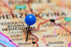 Listica pinned on a map of Bosnia and Herzegovina - stock photo