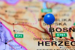 Donji Vakuf pinned on a map of Bosnia and Herzegovina - stock photo