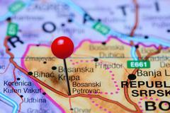 Bosanski Petrovac pinned on a map of Bosnia and Herzegovina - stock photo