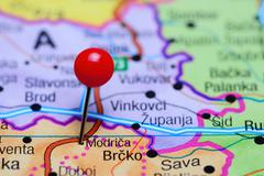 Modrica pinned on a map of Bosnia and Herzegovina - stock photo