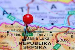 Stock Photo of Banja Luka pinned on a map of Bosnia and Herzegovina