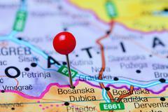 Bosanska Dubica pinned on a map of Bosnia and Herzegovina Stock Photos