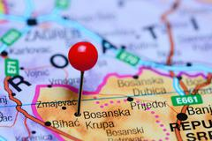 Stock Photo of Bosanska Krupa pinned on a map of Bosnia and Herzegovina