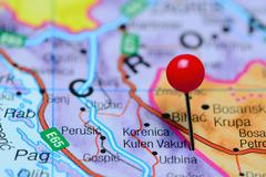 Kulen Vakuf pinned on a map of Bosnia and Herzegovina - stock photo