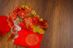 Stock Photo of Chinese New Year decoration on wood wall