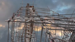 Low angle view of scaffolding on blue and orange sky Stock Footage