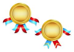 Gold Award Medals - stock illustration