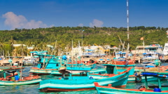 Closeup View of Vietnamese Fishing Boats in Bay - stock footage