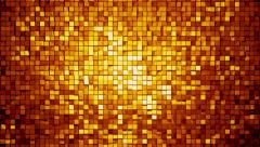 Gold metallic square blocks background animation throwing glares. Seamless loop. Stock Footage