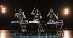 4K, very epic performance of Japanese Taiko drummers on stage, various rhythm Stock Footage