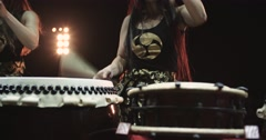 4K, very epic performance of Japanese Taiko drummers on stage, various rhythm - stock footage