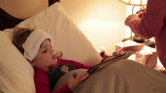 Little Boy Sick In Bed At Home Stock Footage