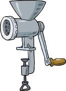 Cartoon meat grinder - stock illustration