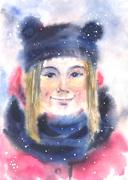 Winter portrait - stock illustration