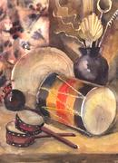 Watercolor still life with a drum - stock illustration