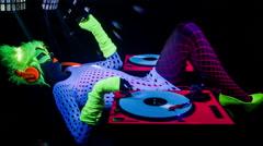 glow uv dj party music fluorescent woman disco - stock footage