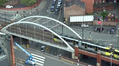 4K Timelapse traffic street car pass tramway wagon Manchester downtown journey  Stock Footage