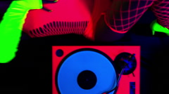 Glow uv dj party music fluorescent woman disco Stock Footage