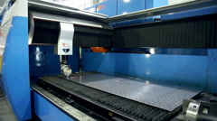Laser robotic metallcutter operates with metall - stock footage