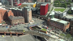 4K Panoramic view heavy traffic street Manchester public transportation emblem  Stock Footage