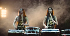 very epic performance of two Japanese Taiko drummer on stage, with sound,various - stock footage