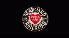 Seaboard Air Line Railroad Sign Isolated on Black Background, 4K Stock Footage