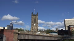4K Beautiful ancient church tower cathedral building Manchester landmark day UK Stock Footage