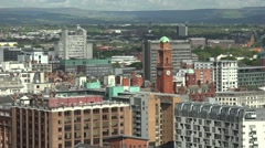 4K Amazing Manchester panorama ancient church tower traditional modern landmark  Stock Footage