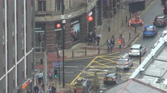 4K Aerial view heavy traffic car busy wet avenue Manchester rainy day rain fall  Stock Footage