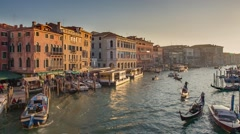 View of Grand Canal from Rialto Bridge in Venice Italy Stock Footage