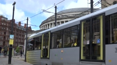 4K Public library building tramway station Manchester urban transportation icon Stock Footage