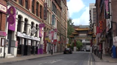 4K China Town Manchester famous Chinese decoration local shop asian gate sign UK Stock Footage