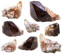 Stock Photo of topaz and Rauchtopaz (smoky quartz) crystals