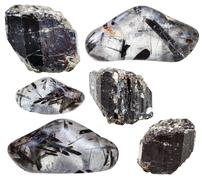 Schorl (black tourmaline) in crystals isolated Stock Photos