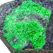 uvarovite druse on rock isolated on white - stock photo