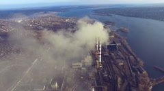 Flight over the thermal power plant TPP Stock Footage