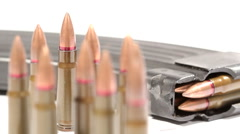 AK-47 ammunition. 7,62x39mm Defocus from a lying full magazine Stock Footage