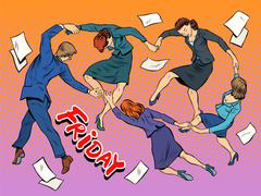 Dance in the office Friday holiday joy business - stock illustration