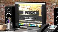 Monitor with Baklava recipe on desktop with office objects. - stock illustration