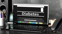 Laptop with Diabetes information on screen, on desktop with office objects. - stock illustration